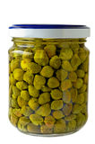 Glass jar of preserved capers Royalty Free Stock Image