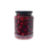 Preserved cherries. Glass jar with preserved cherries isolated on a white background Royalty Free Stock Photo