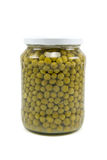 Glass jar of preserved peas Stock Photography