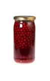 Preserved Red Currants. Glass jar of preserved red currants isolated on a white background Stock Photography