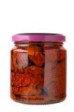 Glass jar of preserved tomatoe Stock Photo