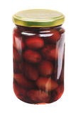 Glass jar with purple  olives kalamata Stock Photos