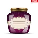 Glass Jar with raspberries jam. Stock Photo
