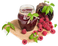 Glass jar of raspberry jam. Royalty Free Stock Photography