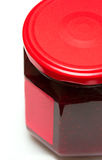 Glass jar of raspberry jam Stock Photo