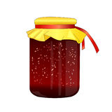 Glass jar with raspberry jam. Jam made from wild berries. Food for tea. Sweet cure for colds. Preparations for winter. Home cannin. G. Vector Stock Photo