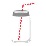 Glass jar with red straw Stock Image
