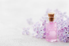 Glass jar with rose water and lilac flowers for spa and aromatherapy Stock Image