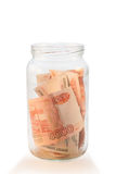 Glass jar with russian money Stock Photo