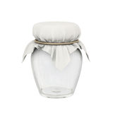 Glass jar and  square cloth shape tied with a golden rope. Transparent glass jar and square cloth shape tied with a golden rope use for keep many kind of food Stock Images