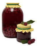 Glass jar of stewed fruit, jam and fresh Royalty Free Stock Photography