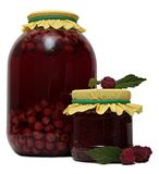 Glass jar of stewed fruit, jam and fresh Royalty Free Stock Images