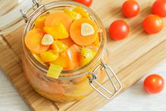 Glass jar with stewed vegetables Royalty Free Stock Image