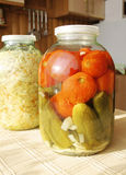 Glass jar with tinned vegetables Stock Photo