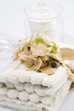 Glass jar and towels Stock Photography
