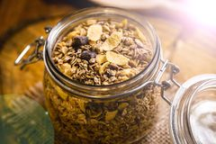 Glass jar with various cereals stock photo