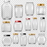 Glass jar vector empty mason glassware with lid or cover for canning and preserving illustration glassful set of Stock Image
