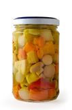 Glass jar of vegetables Royalty Free Stock Images