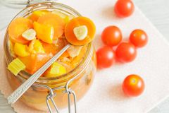 Glass jar with vegetables ragout Royalty Free Stock Photos