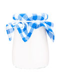 Glass jar of yogurt on white background isolated Stock Photography