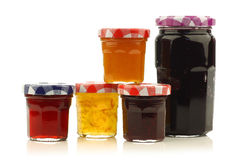 Glass jars with assorted  jam and marmalade Stock Photography