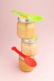 Glass jars of baby food Stock Image