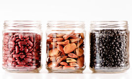 Glass jars with beans Royalty Free Stock Photo
