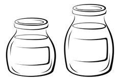 Glass Jars Black Pictograms Stock Image