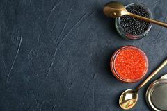 Glass jars with black and red caviar. On grey background Stock Image