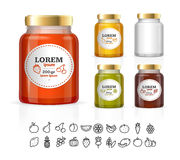 Glass Jars Bottles With Jam, Confiture, Honey. Vector
