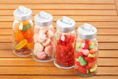 Glass jars of candies Royalty Free Stock Photos