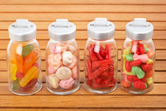 Glass jars of candies Royalty Free Stock Image