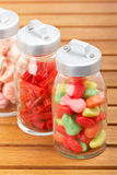 Glass jars of candies Royalty Free Stock Photography