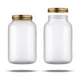 Glass Jars for canning and preserving. With cover and without lid stock photos