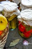 Glass jars of colorful pickled vegetables close-up Stock Image