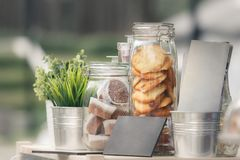 Glass jars with cookies and muffins, green seedlings in metal decorative pails stock photo