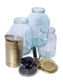 Glass jars and covers for conservation. On white background Royalty Free Stock Photo