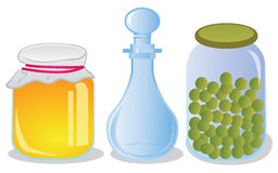 Glass jars and decanter Stock Photo