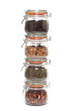 Glass jars with different types of tea Stock Photo