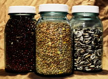 Glass Jars and Dried Beans. Glass jars filled with adzuki beans, lentils, and lima beans royalty free stock photography