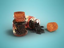 Glass jars with dry black tea for storage in front 3d render on. Blue background with shadow Royalty Free Stock Photos