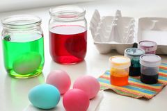 Dyeing Easter Eggs Royalty Free Stock Photo