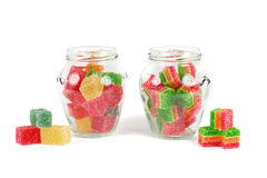 Glass jars filled with different colorful jelly Stock Image