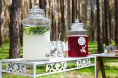 Glass jars with fresh lemonade and snacks on wooden tables. Wedd. Ing party bar in forest Stock Photography