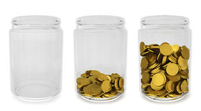 Glass jars with golden coins. Savings concept Stock Image