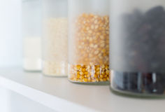 Glass jars with grain Stock Photography