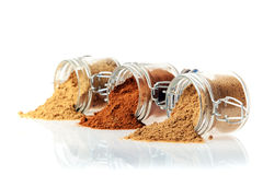 Glass jars of ground spice Royalty Free Stock Photos