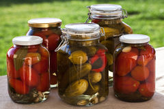 Glass jars of homemade tomatoes and cucumbers Royalty Free Stock Image
