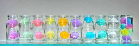 Glass jars with hydrogel Royalty Free Stock Photography