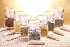 Glass jars with ingridients Royalty Free Stock Photos